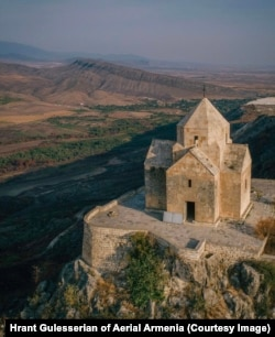 Made of stone, Vankasar Church was built in the 7th century atop a hilltop near the archaeological site of Tigranakert.