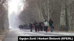 Migranți from Kosovo in Ásotthalom, Ungaria, la granița cu Serbia, 3 februarie 2015