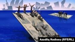 Titanik manat. Karikatura