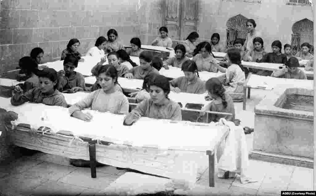 Apprentice embroiderers at Aleppo's Armenian orphanage in 1923