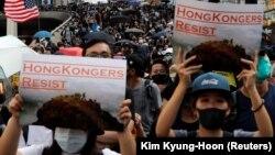 Участники антиправительственной демонстрации. Гонконг, 20 октября 2019 года.