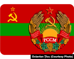 Stema și drapelul RSS Moldovenească.