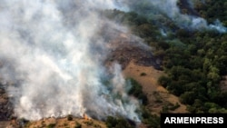Armenia - A wildfire in the Khosrov Forest State Reserve, 14Aug2017.