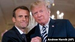 ԱՄՆ նախագահ Դոնալդ Թրամփը և Ֆրանսիայի նախագահ Էմանյուել Մակրոնը Սպիտակ տանը ասուլիսի ժամանակ, Վաշինգտոն, 24-ը ապրիլի, 2018թ․