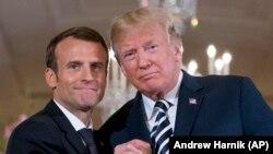 Президент Франції Емманюель Макрон та президент США Дональд Трамп, Вашингтон, 24 квітня 2018 року
