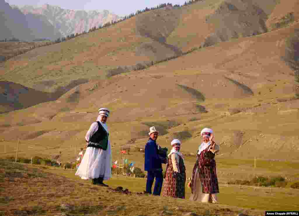 Kyrgyz in traditional clothing.