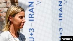 Представитель ЕС по внешней политике Федерика Могерини на пресс-конференции в Вене, 7 июля 2015 года.