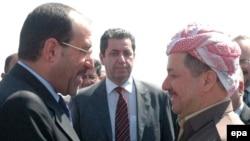 """رئيس وزراء العراقي نوري المالكي ورئيس اقليم كوردستان """"مسعود بارزاني"""""""