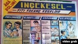 Türkmənistan xəstəxanasında vərəm simptomlarını göstərən plakat