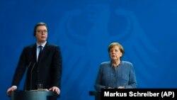 Претседателот на Србија Александар Вучиќ и германската канцеларка Ангела Меркел, Берлин, 27.02.2018.