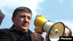 Armenia -- Opposition MP and businessman Khachatur Sukiasian pictured during an anti-government rally in Yerevan on March 1, 2008.