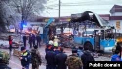 На месте взрыва троллейбуса в Волгограде