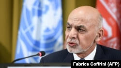 Afghan President Ashraf Ghani delivers a speech during the United Nations conference on Afghanistan at the UN Office in Geneva in 2018.
