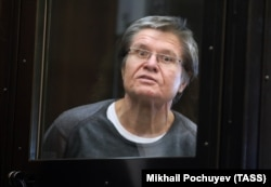 Former Russian Economy Minister Aleksei Ulyukayev attends his court hearing in Moscow on April 12.