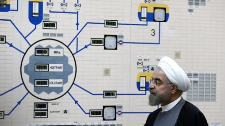 Iranian President Hassan Rohani visits the control room of the Bushehr nuclear power plant.