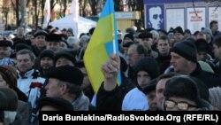 Участники антиправительственных выступлений в Украине.