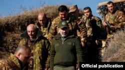 "Nagorno-Karabakh -- Armenian Prime Minister Nikol Pashinian visits a section of the Armenian-Azerbaijani ""line of contact,"" November 30, 2019."