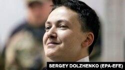 Надежда Савченко во время одного из судебных заседаний по ее делу