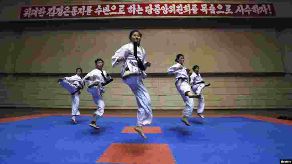 Girls train in a Taekwondo Hall in Pyongyang, North Korea, on April 12. (Reuters/Bobby Yip)