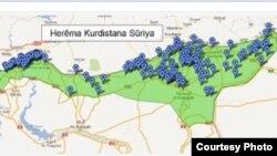 خارطة لمناطق غرب كردستان سوريا