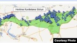 خارطة لمنطقة غرب كردستان-سوريا