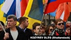 Boris Nemțov în 2014 la o demonstrație în favoarea Ucrainei