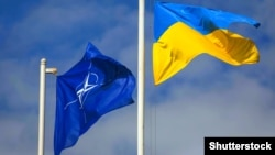Флаги НАТО и Украины. Иллюстрационное фото