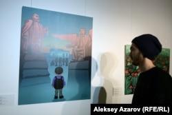 """Суретші Ерден Зікібайдың """"Андас"""" картинасы. Алматы, 6 желтоқсан 2018 жыл."""