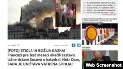 "A screen-grab from the website of Informer, a Serbian tabloid that said the fire in Notre Dame was ""God's punishment."""