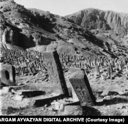 The Armenian cemetery of Julfa. This is one of several photographs of the ancient cemetery that were taken by Aram Vruyr while on assignment for Christian East magazine in 1915.