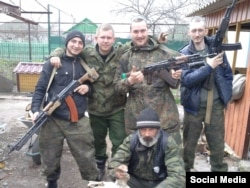 Rustam with fellow separatists in eastern Ukraine