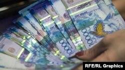 Банкноты номиналом 10 тысяч тенге.