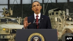 U.S. President Barack Obama delivers a televised address from Bagram air base in Afghanistan.