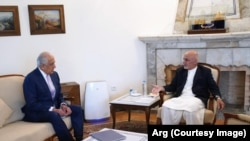 دیدار محمد اشرف غنی رئیس جمهوری افغانستان با زلمی خلیلزاد نماینده ویژه امریکا برای صلح افغانستان در کابل