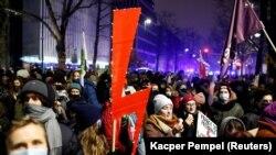 Акция протеста в Варшаве, 29 января 2021 года