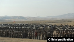 Nagorno-Karabakh - Karabakh Armenian troops, tanks and other military hardware lined up after ending a military exercise, 23Oct2012.