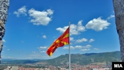 Macedonia - Macedonian flag on fortress Kale in Skopje - 8Sep2012