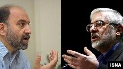 میرحسین موسوی (راست) و عبدالکریم سروش