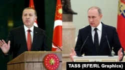 Түркия президенті Режеп Тайып Ердоған мен Ресей президенті Владимир Путин.