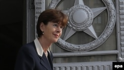 Dutch Ambassador to Russia Renee Jones-Bos leaves the Russian Foreign Ministry in Moscow on October 3.