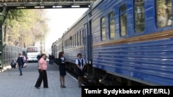 Железнодорожный вокзал в Бишкеке.