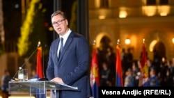 "Predsednik Srbije Aleksandar Vučić tokom centralne proslave ""Dan srpskog jedinstva, slobode i nacionalne zastave"""