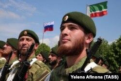 Чеченские военнослужащие в Грозном