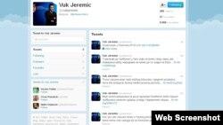 Faqja e Twitter e Vuk Jeremiqit