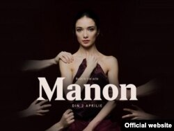 Afișul spectacolului cu Manon la ONB