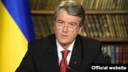 President Victor Yushchenko announcing the dissolution of parliament