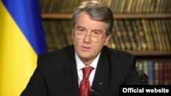President Yushchenko announcng the dissolution of parliament