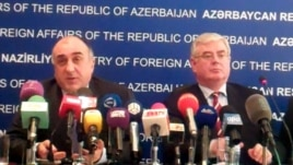 Azerbaijan – Minister of Foreign Affairs Elmar Mammadyarov (L) and the OSCE Chairperson-in-Office Eamon Gilmore at a press-conference in Baku, 14Jun2012