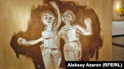 Картина, изображающая советских физкультурниц.