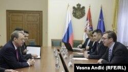 Zamenik ministra spoljnih poslova Rusije, Mihail Bogdanov, sa premijerom Srbije Aleksandrom Vučićem, u Beogradu, 10. marta 2017.